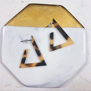 Jewelry - Acrylic Tortoise Triangle Drop Earrings
